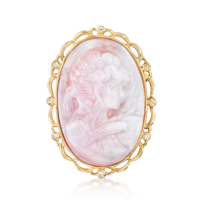 Pink Mother-Of-Pearl Cameo Pin/Pendant with Diamond Accents in 14kt Yellow Gold