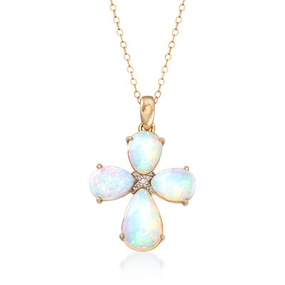 White Opal Cross Pendant Necklace with Diamond Accents in 14kt Yellow Gold, , default