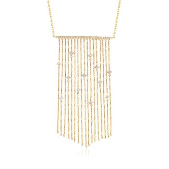 "14kt Yellow Gold Chain Fringe Necklace With .40 ct. t.w. Diamonds. 20"", , default"