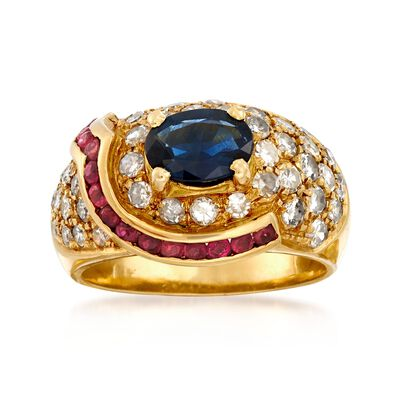 C. 1980 Vintage .85 Carat Sapphire Dome Ring with Diamonds and Rubies in 18kt Yellow Gold, , default