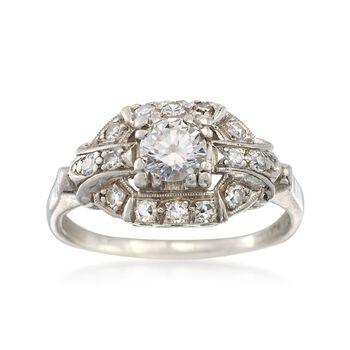 C. 1950 Vintage .60 ct. t.w. Diamond Ring in Platinum. Size 5.5, , default