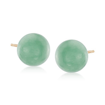 10mm Green Jade Stud Earrings in 14kt Yellow Gold, , default