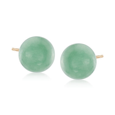 10mm Green Jade Stud Earrings in 14kt Yellow Gold, , default