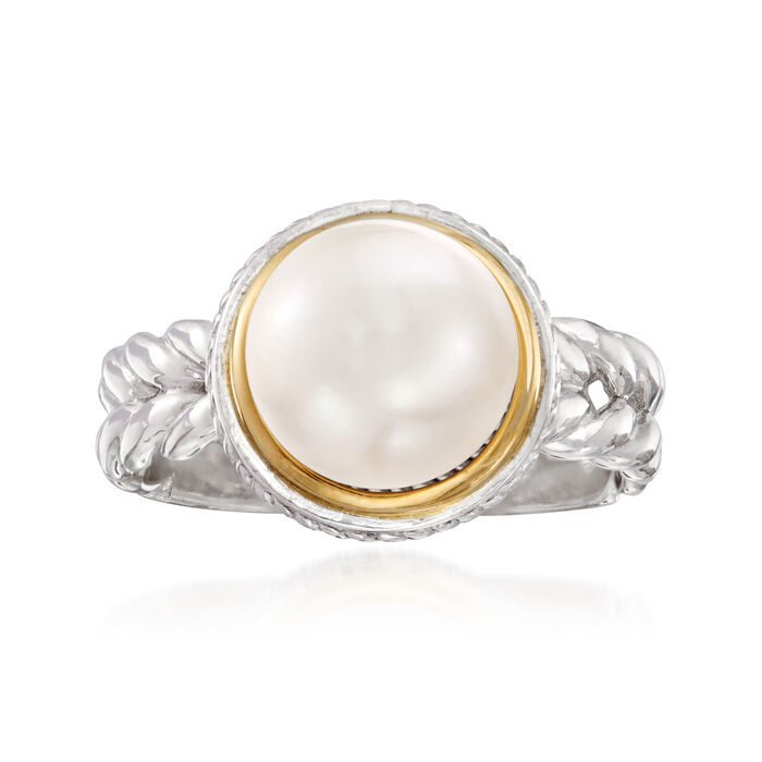 9.5mm Cultured Pearl Ring in Sterling Silver with 14kt Yellow Gold, , default