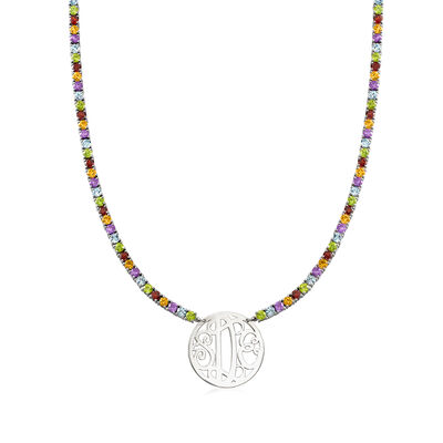 23.50 ct. t.w. Multi-Gemstone Necklace with Framed Monogram in Sterling Silver