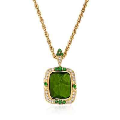 C. 1980 Vintage Green Quartz and 2.28 ct. t.w. Multi-Stone Pendant Necklace in 18kt Yellow Gold, , default