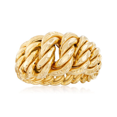 Italian 18kt Yellow Gold Americana-Link Ring, , default