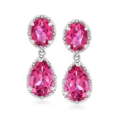 11.40 ct. t.w. Pink Topaz and .12 ct. t.w. Diamond Drop Earrings in Sterling Silver