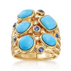Turquoise and .20 ct. t.w. Sapphire Multi-Row Cluster Ring in 14kt Yellow Gold. Size 5, , default