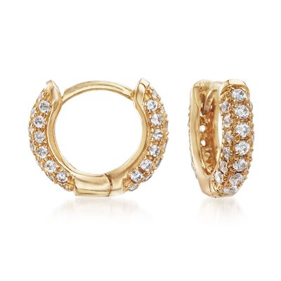 .50 ct. t.w. CZ Huggie Hoop Earrings in 14kt Yellow Gold, , default