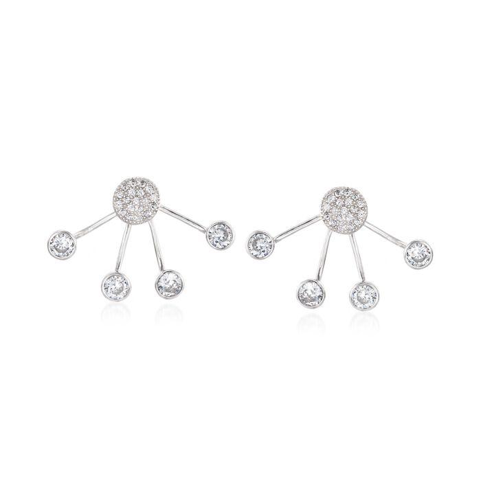 2.35 ct. t.w. CZ Front-Back Earrings in Sterling Silver, , default