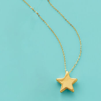 Italian 14kt Yellow Gold Star Necklace
