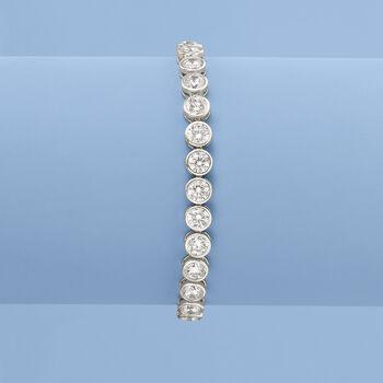 13.50 ct. t.w. CZ Tennis Bracelet in Sterling Silver, , default