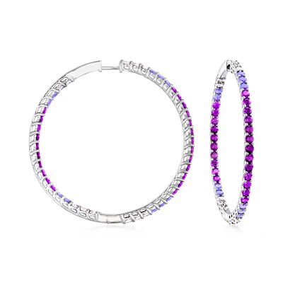4.60 ct. t.w. Simulated Amethyst, 2.20 ct. t.w. CZ and 2.00 ct. t.w. Simulated Tanzanite Hoop Earrings in Sterling Silver