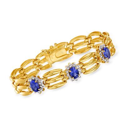 C. 1990 Vintage 3.30 ct. t.w. Tanzanite and .75 ct. t.w. Diamond Link Bracelet