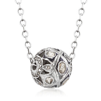 """C. 1990 Vintage 1.00 ct. t.w. Diamond Ball Necklace in Sterling Silver. 17"""", , default"""