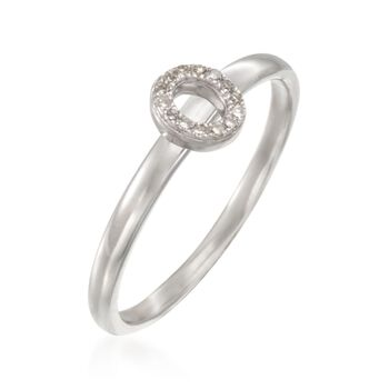 """Diamond Accent Mini Initial """"O"""" Ring in Sterling Silver, , default"""