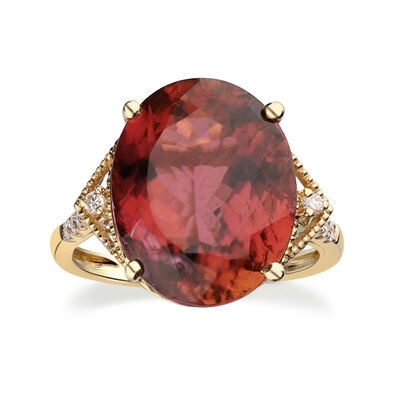 9.25 ct. t.w. Pink Tourmaline Ring with .13 ct. t.w. Diamonds in 14kt Yellow Gold