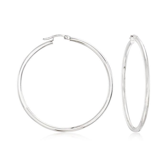 """2.5mm 14kt White Gold Hoop Earrings. 2"""", , default"""