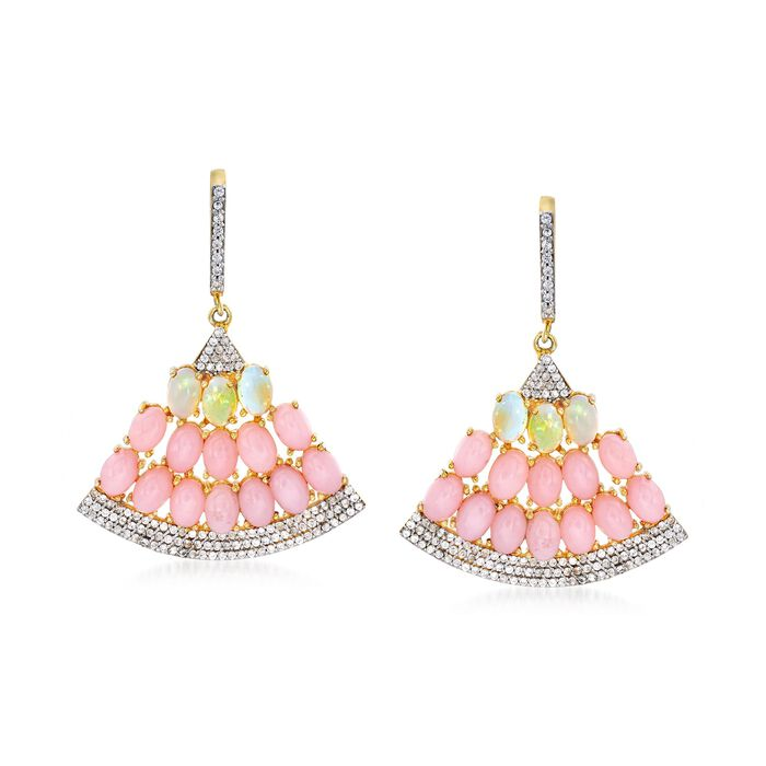 Pink and White Opal and 1.70 ct. t.w. White Zircon Fan Drop Earrings in 18kt Gold Over Sterling