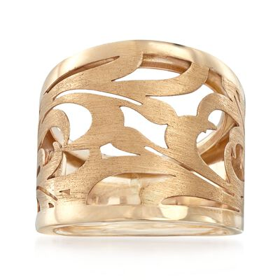Italian 14kt Yellow Gold Openwork Swirl Ring, , default