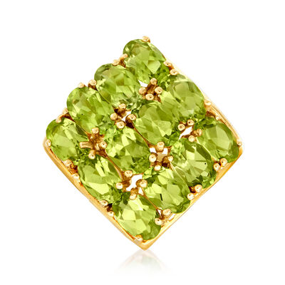 C. 1980 Vintage 4.80 ct. t.w. Three-Row Peridot Ring in 14kt Yellow Gold, , default
