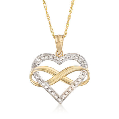 14kt Two-Tone Gold Diamond-Cut Infinity Heart Pendant Necklace, , default