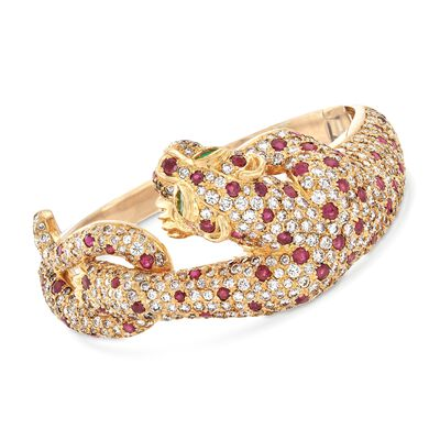 C. 1980 Vintage 16.00 ct. t.w. Diamond and 6.00 ct. t.w. Ruby Panther Bangle Bracelet in 18kt Yellow Gold, , default
