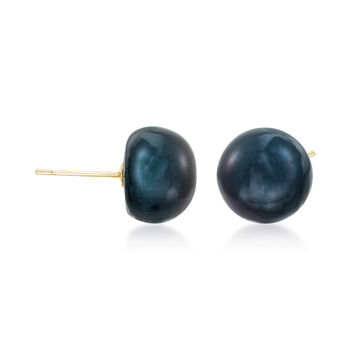 12-13mm Black Peacock Cultured Pearl Stud Earrings in 14kt Yellow Gold, , default