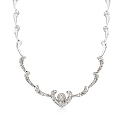 C. 1980 Vintage 2.10 ct. t.w. Diamond Heart Motif Necklace in 18kt White Gold