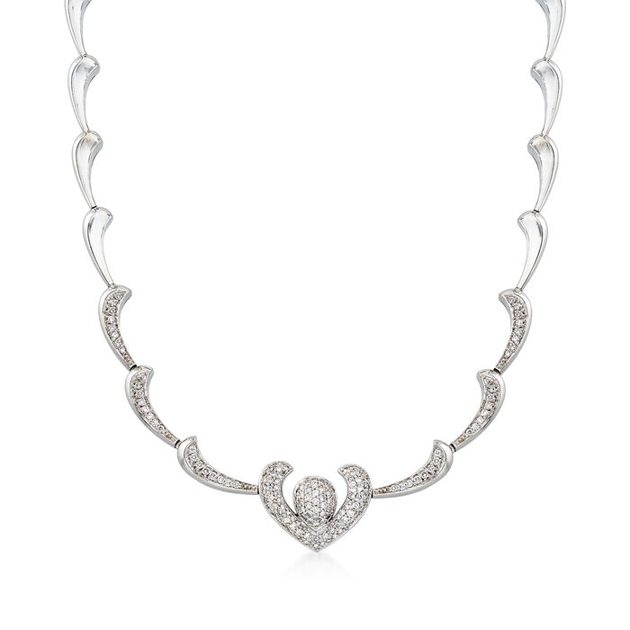 C. 1980 Vintage 2.10 ct. t.w. Diamond Heart Motif Necklace in 18kt White Gold. 14""