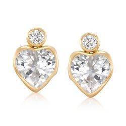 4.20 ct. t.w. Bezel-Set Round and Heart CZ Earrings in 14kt Yellow Gold, , default