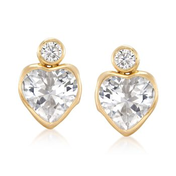 4.20 ct. t.w. Bezel-Set Round and Heart CZ Earrings in 14kt Yellow Gold , , default
