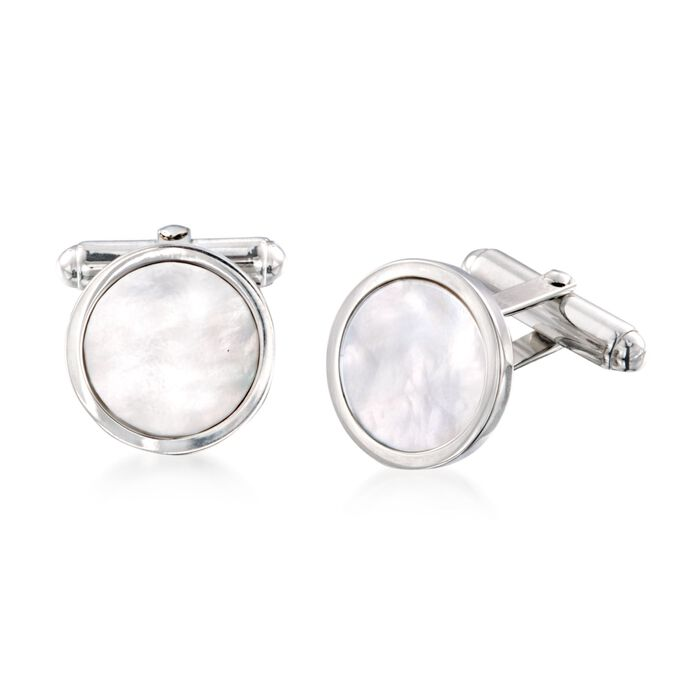 Round Mother-Of-Pearl Cuff Links in Sterling Silver, , default