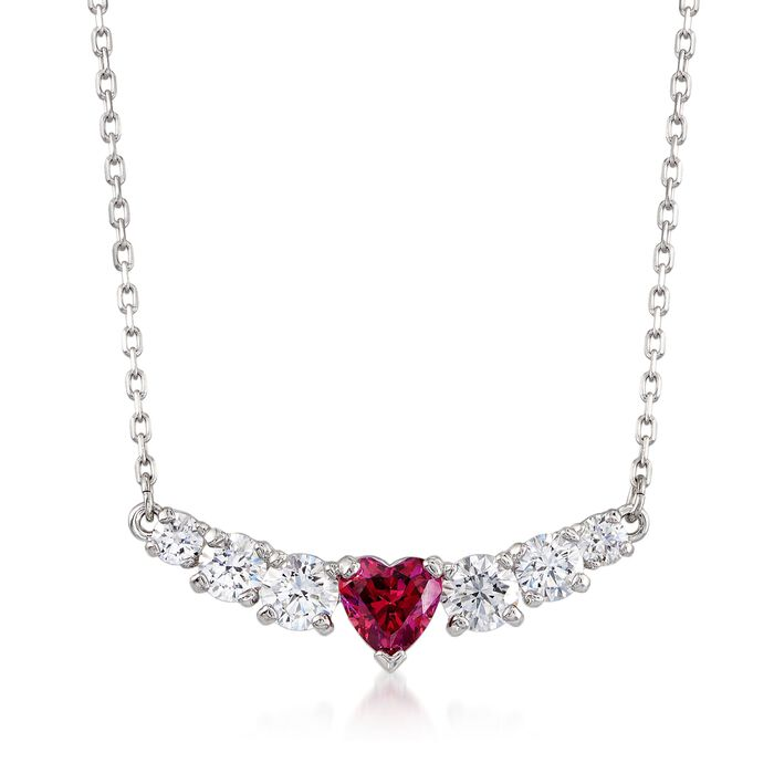 "Swarovski Crystal ""Love"" Pink and Clear Crystal Heart Necklace in Silvertone. 15"", , default"