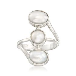 7-9mm Triple Cultured Pearl Linear Ring in Sterling Silver, , default