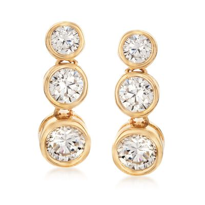 .38 ct. t.w. Graduated CZ Three-Tier Drop Earrings in 14kt Yellow Gold, , default