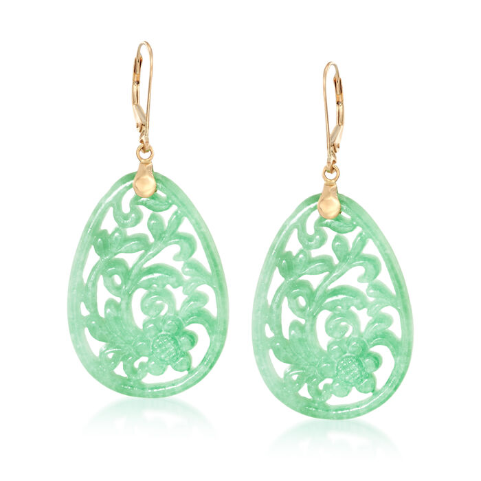 Carved Green Jade Floral Drop Earrings in 14kt Yellow Gold, , default