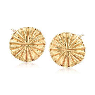 Italian 18kt Yellow Gold Circle Burst Earrings, , default