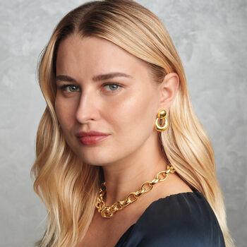 Italian 18kt Yellow Gold Doorknocker Drop Earrings, , default