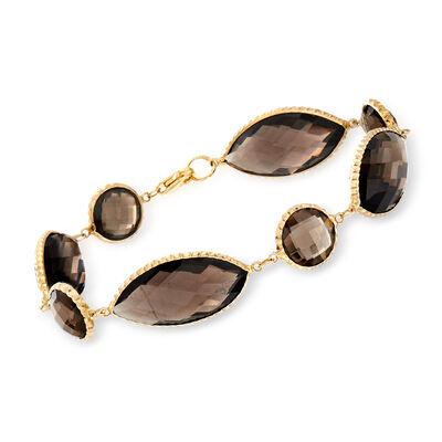 C. 1990 Vintage 38.00 ct. t.w. Smoky Quartz Bracelet in 14kt Yellow Gold, , default