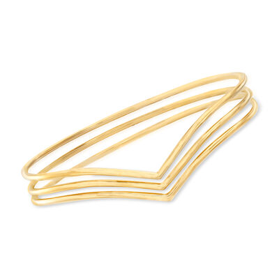 14kt Yellow Gold Chevron Jewelry Set: Three Stackable Bangle Bracelets, , default