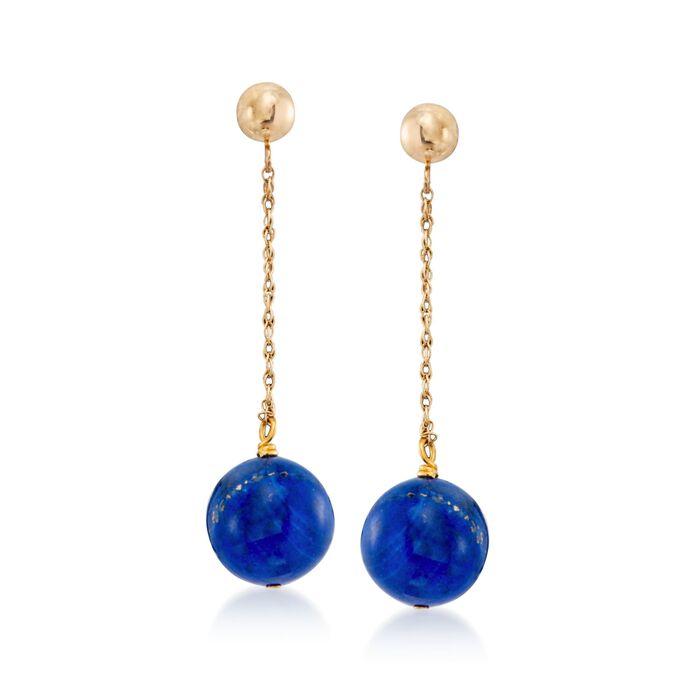 10mm Lapis Bead Drop Earrings in 14kt Yellow Gold, , default