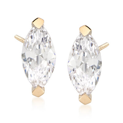 2.00 ct. t.w. Marquise CZ Stud Earrings in 14kt Yellow Gold