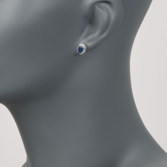 1.20 ct. t.w. Oval Sapphire Stud Earrings with Diamond Accents in Sterling Silver