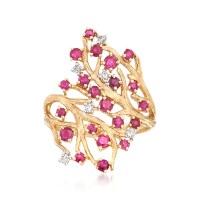 1.00 ct. t.w. Ruby and .11 ct. t.w. Diamond Branch Ring in 14kt Yellow Gold, , default