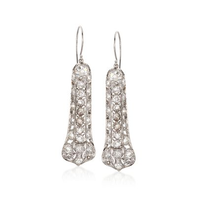 C. 1990 Vintage 7.00 ct. t.w. Diamond Drop Earrings in Platinum