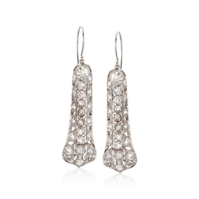 C. 1990 Vintage 7.00 ct. t.w. Diamond Drop Earrings in Platinum