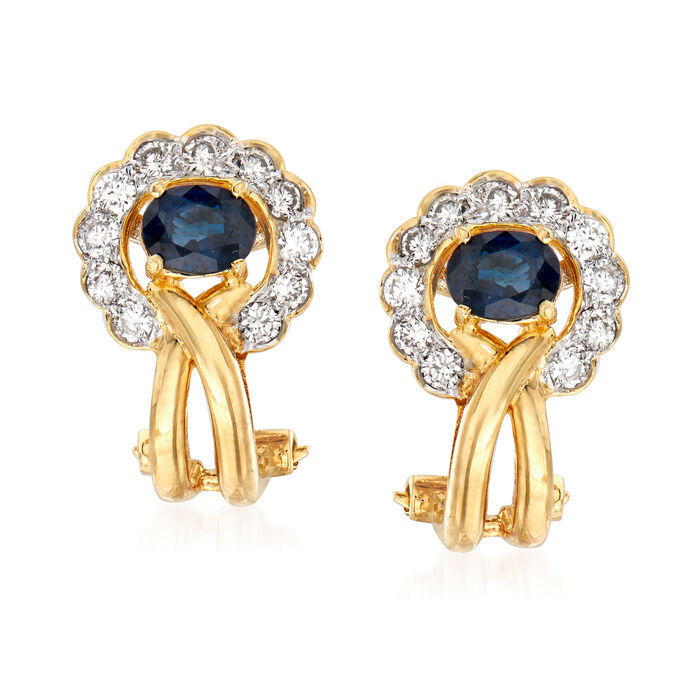 C. 1980 Vintage .90 ct. t.w. Sapphire and .65 ct. t.w. Diamond Earrings in 18kt Yellow Gold, , default
