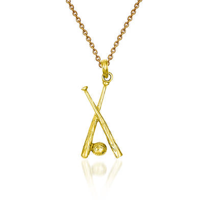 "14kt Yellow Gold Open-Backed Bats and Ball Baseball Pendant Necklace. 18"", , default"